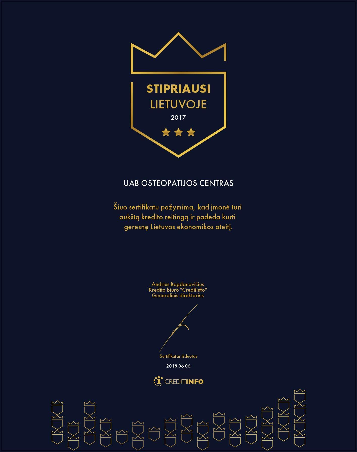Stipriausi Lietuvoje 2017 sertifikatas